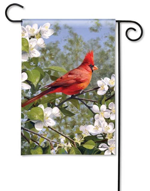 Cardinal in Blossoms Garden Flag