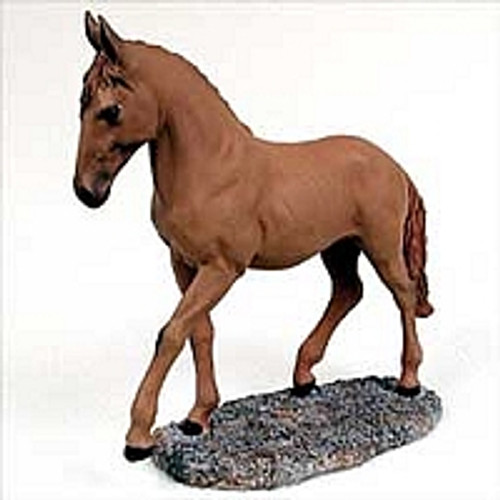 Chestnut Horse Trotting Figurine