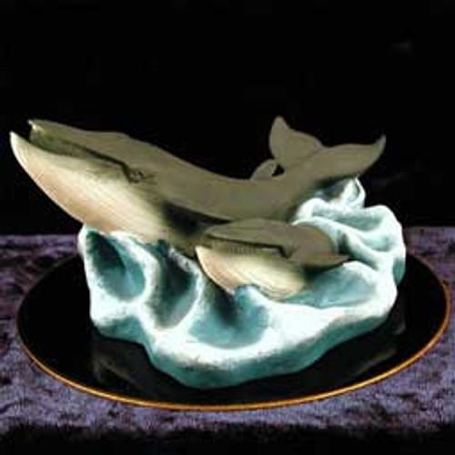 Finback Whale & Baby Figurine on Black Base