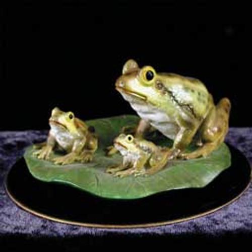 Frog Family Figurine on Black Base