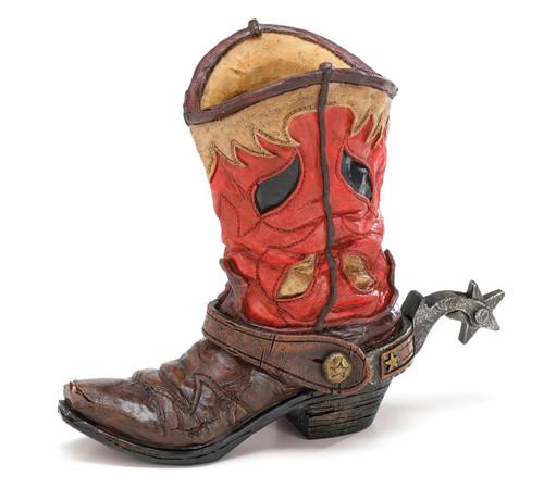 Rugged Cowboy Boot Vase