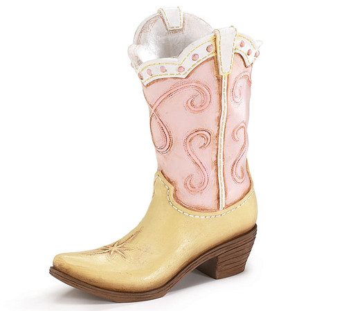 Pink Cowgirl Boot Vase