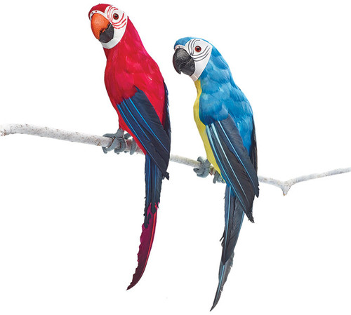 Red & Blue Parrot Wall Figurines