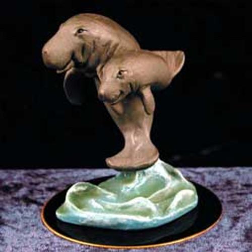 Manatee Figurine on Black Base