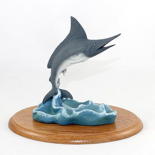 Blue Marlin Figurine on Wood Base