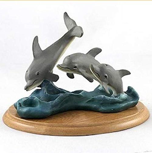Dolphins Figurine on Wood Base