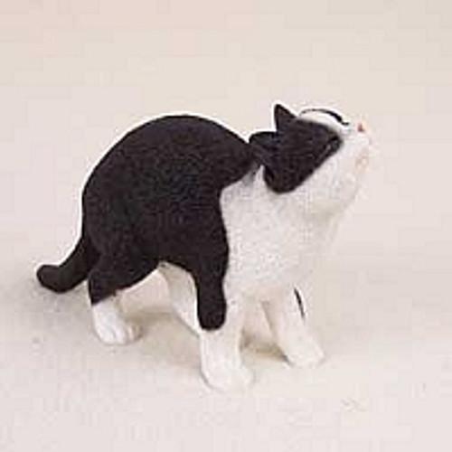 Black & White Tabby Cat Happy Figurine