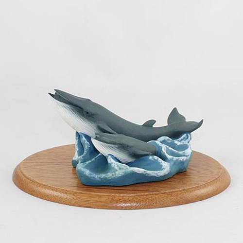 Finback Whale & Baby Figurine on Wood Base