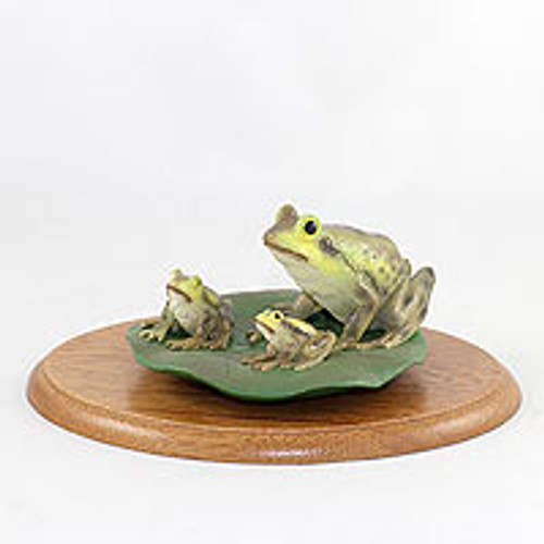 Frog Family Figurine on Wood Base