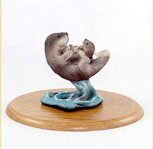 Sea Otter Figurine on Wood Base
