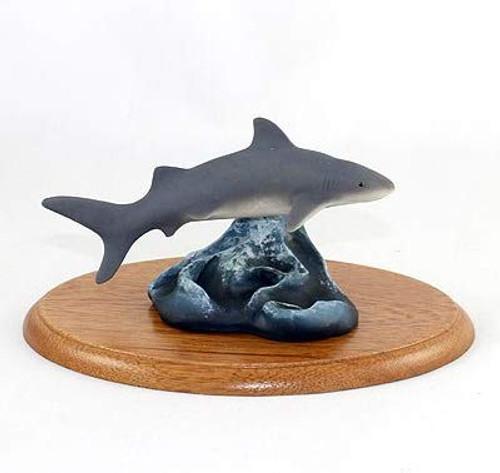 Tiger Shark Figurine on Wood Base