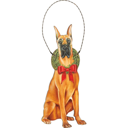 Great Dane Fawn Wooden Ornament