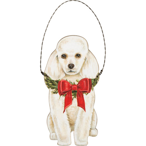 Poodle, White Wooden Ornament
