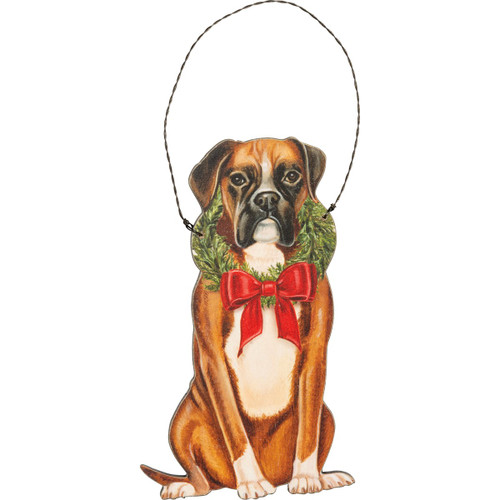 Boxer Wooden Ornament