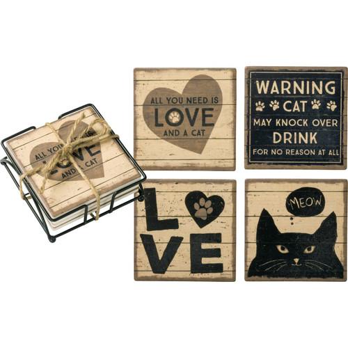 Cat Love Coaster Set