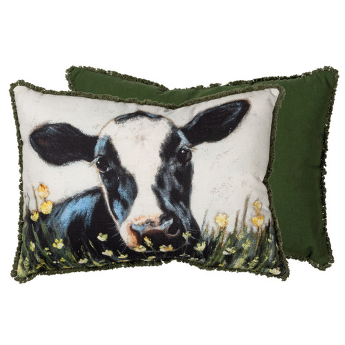 Black & White Cow Accent Pillow