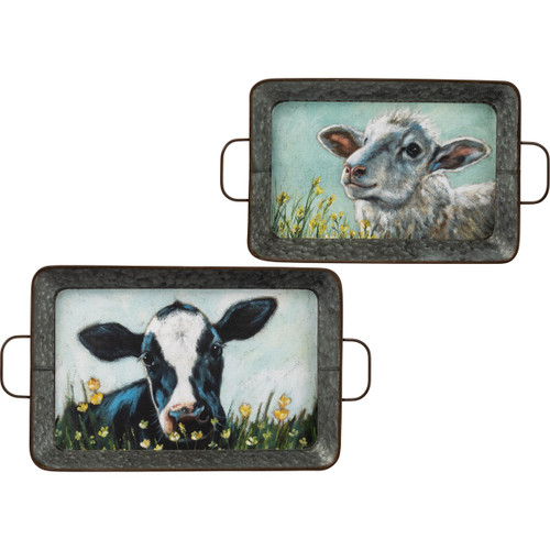 Black & White Cow & White Sheep Tray Set
