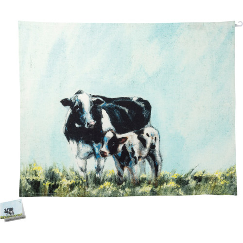 Black & White Cow & Calf Dish Towel