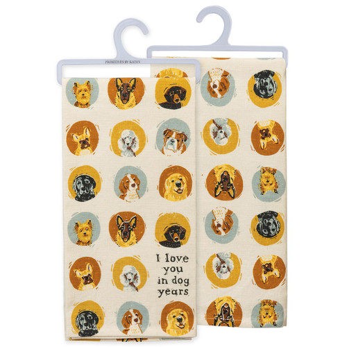I Love You in Dog Years Dish Towel
