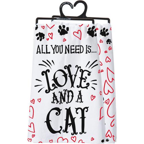 Love & A Cat Dish Towel