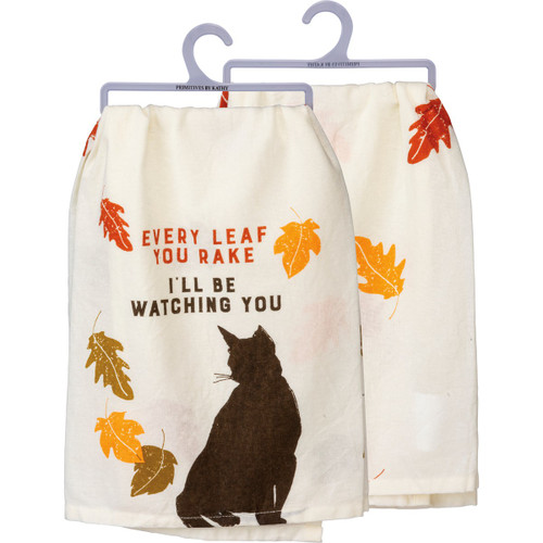 Every Leaf You Rake - Cat Dish Towel