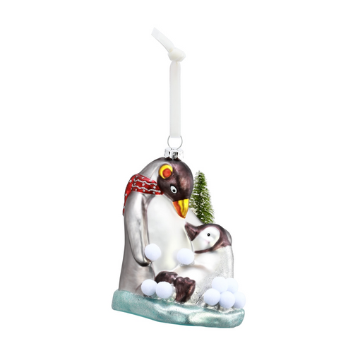 Glass Penguins Ornament