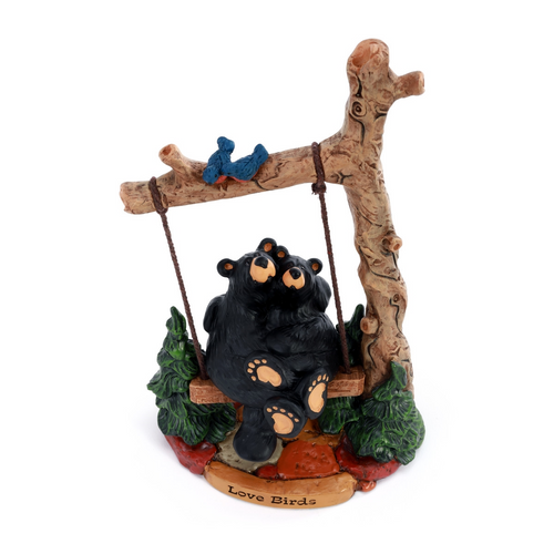 Black Bear Love Birds Figurine