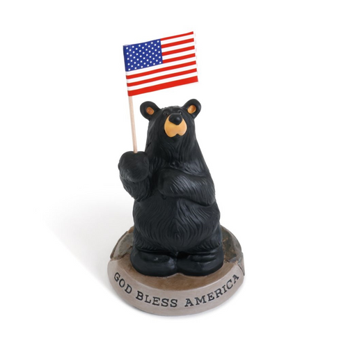 Patriotic Black Bear Figurine