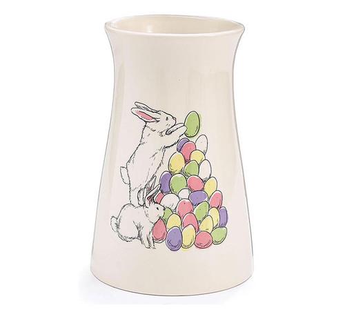 Bunnies With Eggs Vase