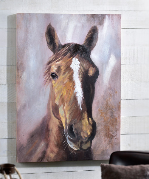 Framed Brown Horse Canvas Oil Painting