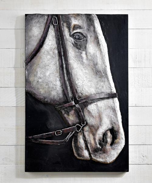 3D Metal White Horse Head Wall Art
