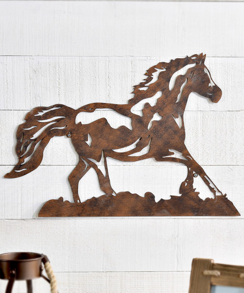 Metal Cut-Out Horse Wall Decor