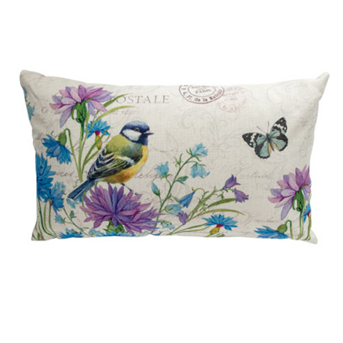 Chickadee & Butterfly Accent Pillow