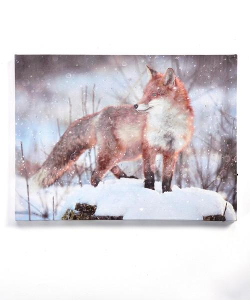 Fox LED Framed Canvas Wall Print