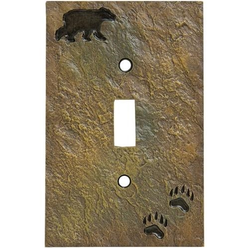 Bear Tracks Single Light Switch Cover