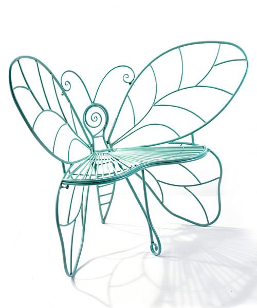 Antique Blue Butterfly Garden Chair