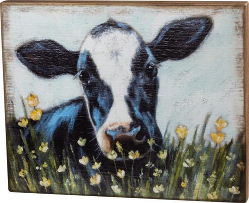 Black & White Cow Wood Block Art