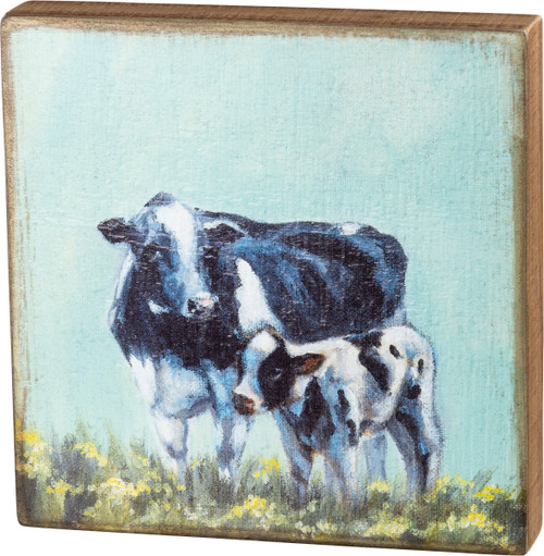 Black & White Cow & Calf Box Sign