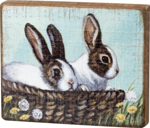 Brown & White Bunnies In Basket Block Sign