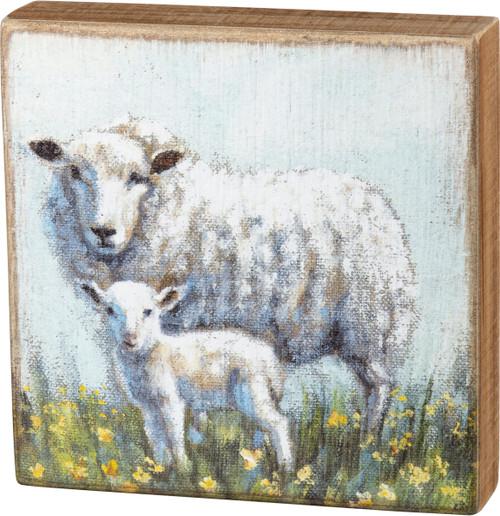 White Sheep & Lamb Box Sign