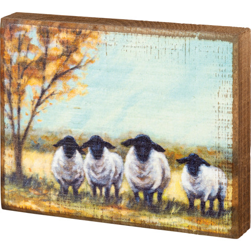 Sheep in a Field Block Sign