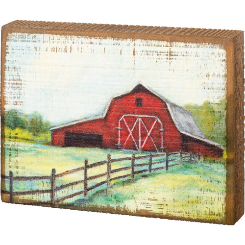 Red Barn Wood Block Art
