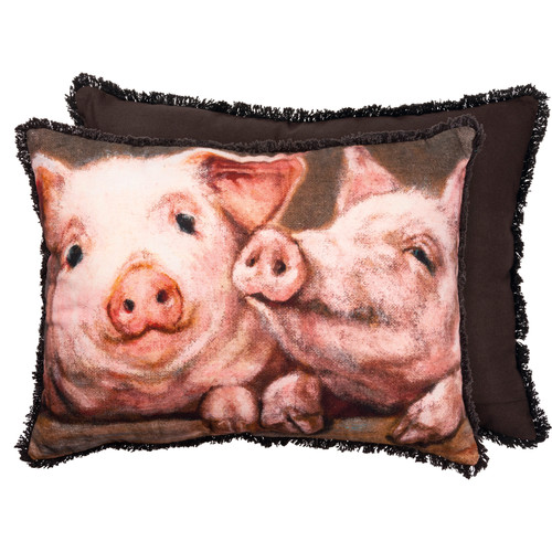Pink Pigs Accent Pillow