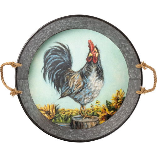 Rooster With Sunflowers Tray
