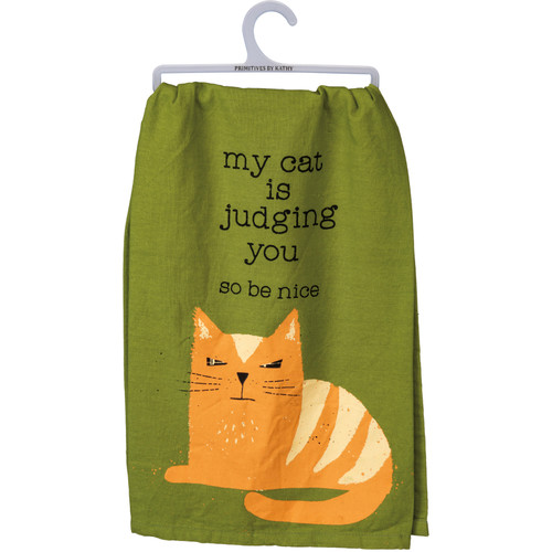 My Cat Is Judging You Dish Towel