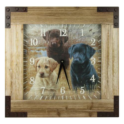 Labrador Puppies Wood Wall Clock