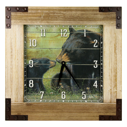 Black Bear & Cub Wood Wall Clock