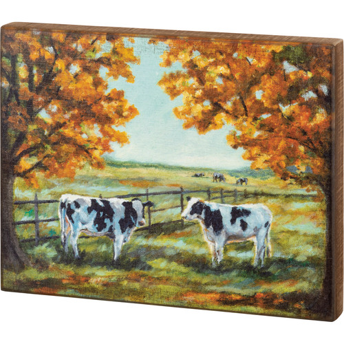 Black & White Cows In Autumn Box Sign