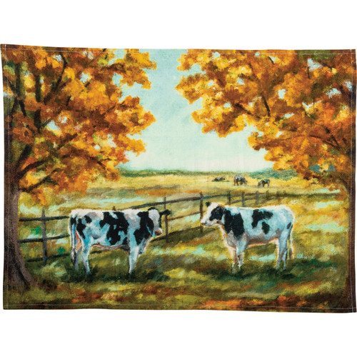 Black & White Cows In Autumn Dish Towel