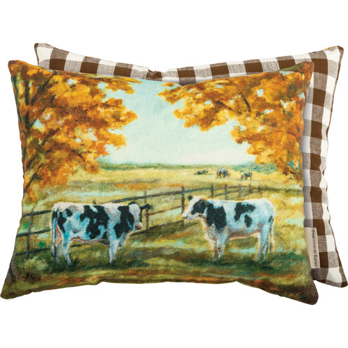 Black & White Cows In Autumn Accent Pillow